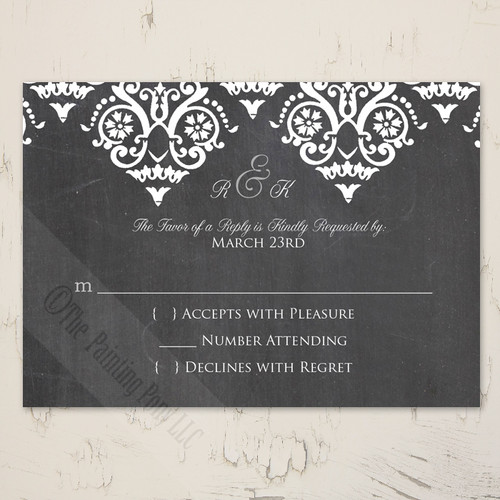 White and gray chalkboard wedding rsvp card