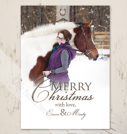 Classic Equestrian Flat Photo Template Christmas Card