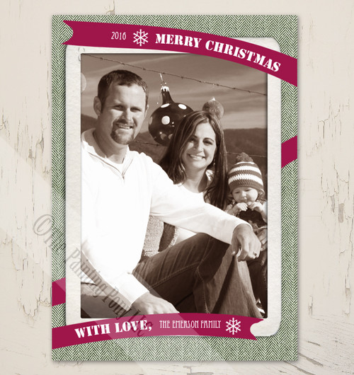 Harringbone Pattern Vintage Photo Christmas Card Template