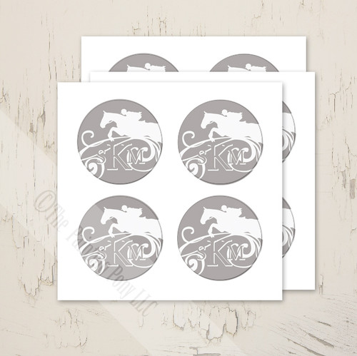 Hunter Jumper Monogram personalized stickers