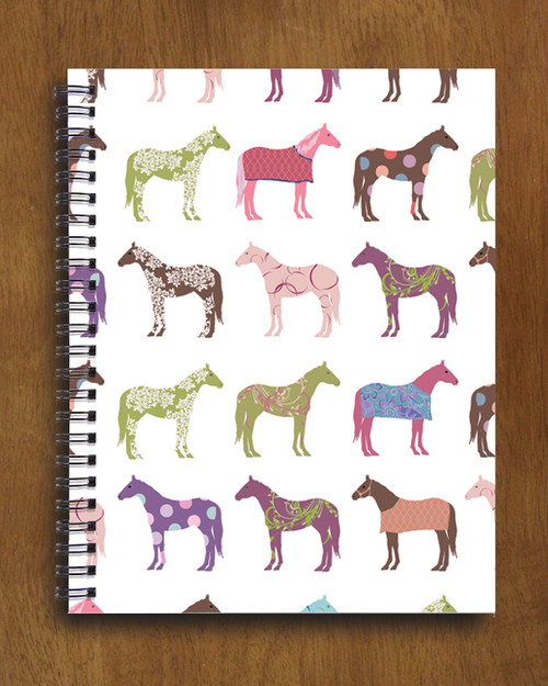 Colorful Horse Pattern Spiral Notebook