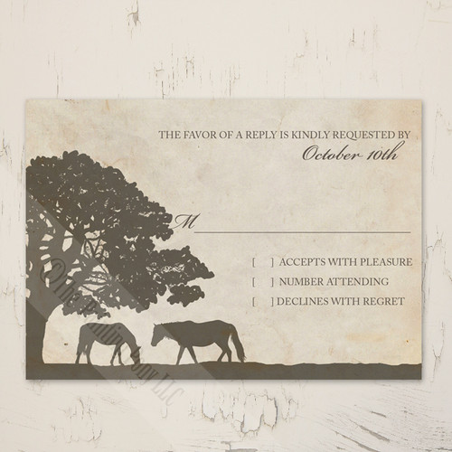 Vintage Horse Farm wedding rsvp card for the equestrian themed wedding