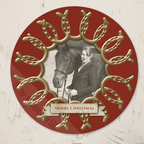 Circle Shaped Golden Horse Shoes Photo Template Equestrian Christmas Card