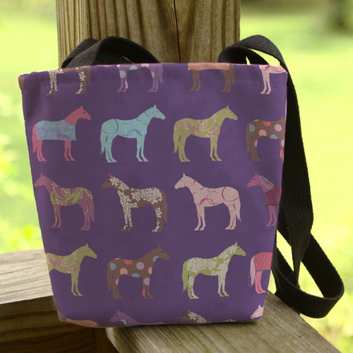 Fun Colorful Horses Pattern Tote Bag