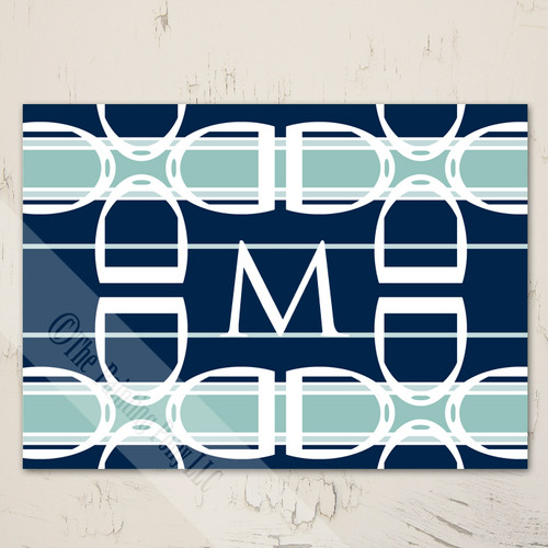 Blank Monogram Stirrup Pattern equestrian note cards
