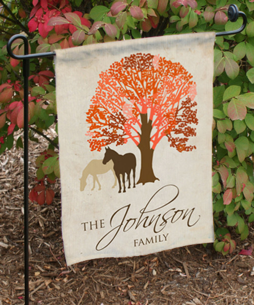 Fall Equestrian Horse Themed Garden Flag