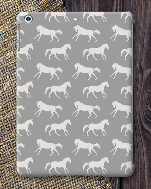 Grey Galloping Horses Patterned IPad Air Case
