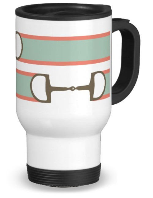 Pink and mint ribbon and bits equestrian travel mug