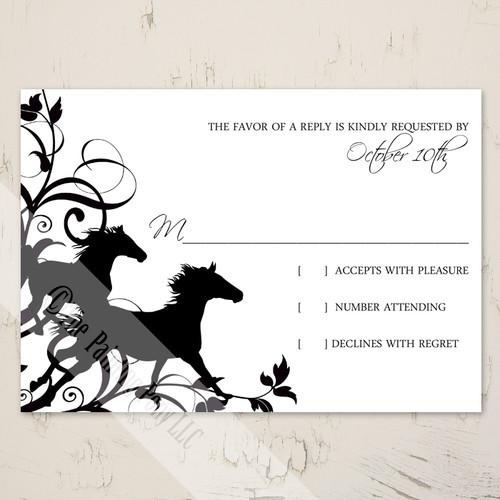 Wild Horses Equestrian Wedding RSVP card