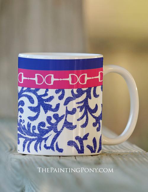 Equestrian Horse Bits Damask Pattern Ceramic Mug
