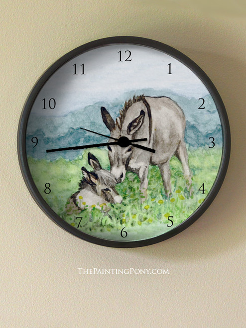Miniature Donkey Mom Wall Clock