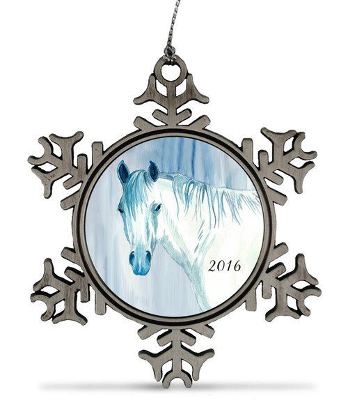 Blue Horse Head Christmas Ornament