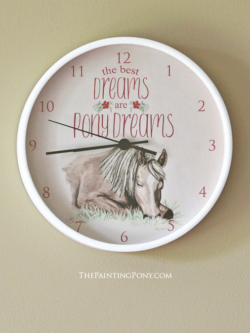 The Best Dreams are Pony Dreams Equestrian Wall Clock