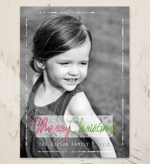 grunge photo border with floral horse pattern christmas card