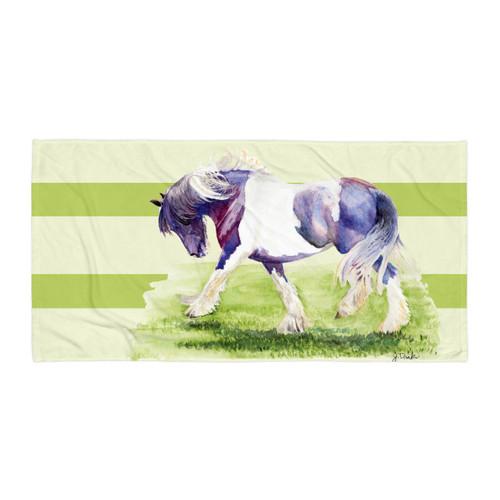 Trotting Horse Equestrian Art Beach Towel