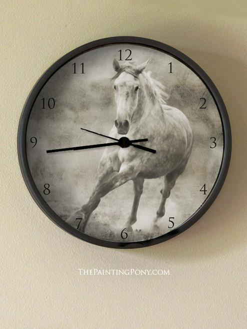 Galloping Grey Horse Wall Clock