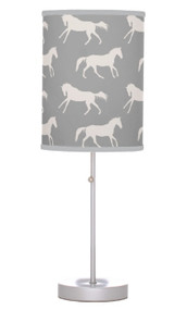 Grey and white horse table lamp