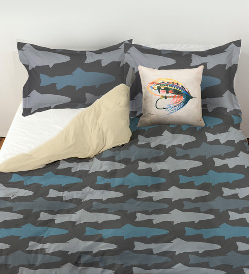 Fly fishing blue and grey trout pattern duvet bedding for Fishing bedding sets