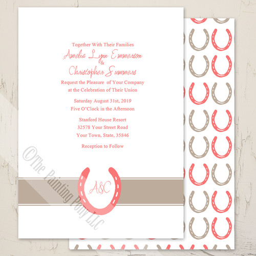 Lucky In Love Horse Shoes Wedding Invitation 10 Pk The Painting Pony