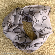 Horse bits patterned scarf shown in the black and slate color
