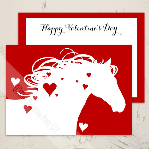 Red Heart Horse Valentines Day Flat Card 10 Pk The