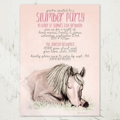Pony Dreams Slumber Party Birthday Invitation 10 pk The – Horse Party Invitations