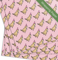 Pink Party Ponies Girl's birthday party gift wrapping paper