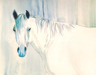 """9""""x12"""" watercolor painting on watercolor paper of a gray horse head in blue and green tones."""