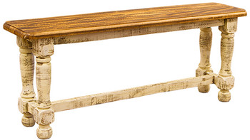 Provencia White Rustic Dining Bench