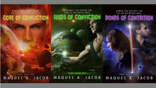 The newly revised Core of Confliction Trilogy with new covers by Dar Albert