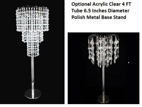 Chandelier stand with an acrylic clear tube great for centerpiece