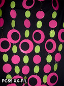 Doorway Beaded Curtains Hip Circles Pink/Lime