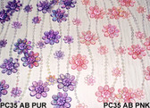 Doorway Beaded Curtains Iridescent Daisies Pink