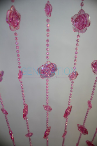 Hanging Doorway Beaded Curtains Pink Roses beads