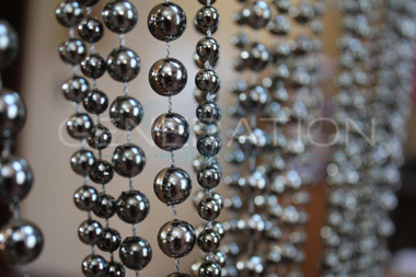 Faux Metallic Ball Chain Curtains Steel Color