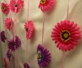 Doorway Beaded Curtains Silk Flower Daisies Pink