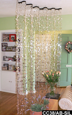 Room Divider Beaded Curtains With Wave Metal Rod 9 FT Length