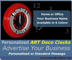 Personalized Art Deco Clock Red