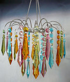 Multi Pastel Acrylic Drop Large Beaded Chandelier Hand Hooked