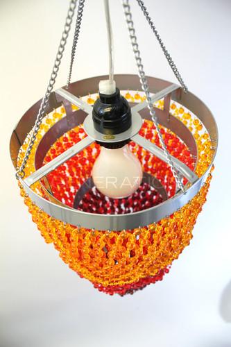 Acrylic bead chandelier 3 Tiers Orange & Brown