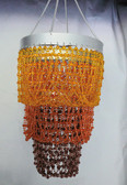 Acrylic bead chandelier 3 Tiers Orange & Brown