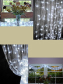 White Organza Curtain with LED Strands 12 Foot Long