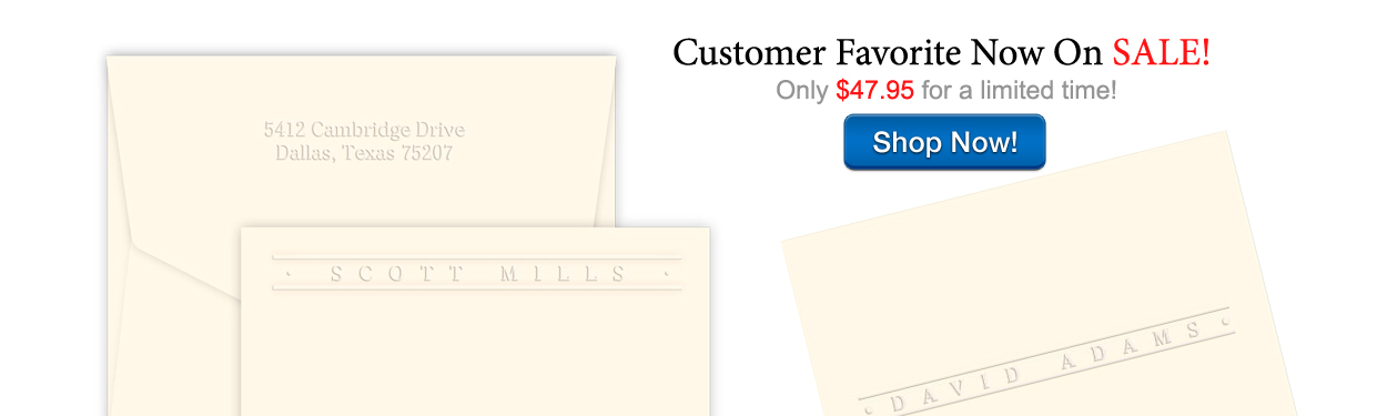 Customer Favorite On Sale Now! Personalized Embossed Stationery by StationeryXpress.com