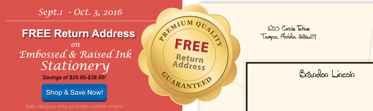 Free Return Address on Embossed & Raised Ink Stationery by StationeryXpress.com