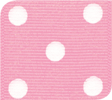 Pink / White Grosgrain Polka Dots