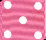 Vibrant Pink / White Grosgrain Polka Dots