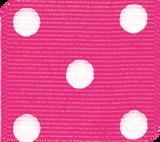 Shocking Pink / White Grosgrain Polka Dots