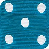 Island Blue / White Grosgrain Polka Dots