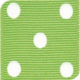 Apple Green / White Grosgrain Polka Dots