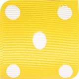 Maize / White Grosgrain Polka Dots